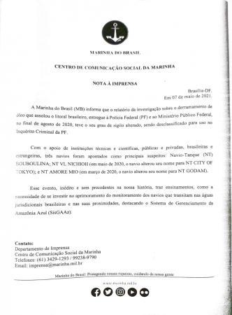 Marinha do Brasil divulga relatório sobre o derramamento de óleo no litoral