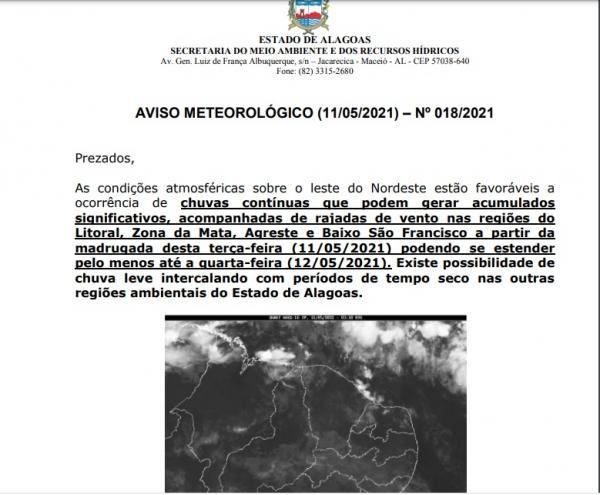 Sala de Alerta emite aviso meteorológico para chuvas e rajadas
