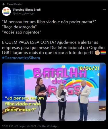 #DesmonetizaSikera viraliza nas redes no Dia do Orgulho LGBTQIA+