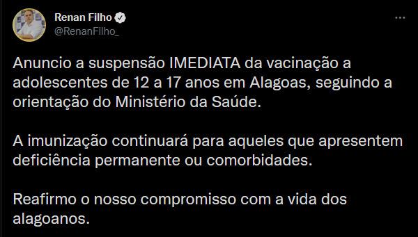 Alagoas suspende vacinação contra a Covid para adolescentes