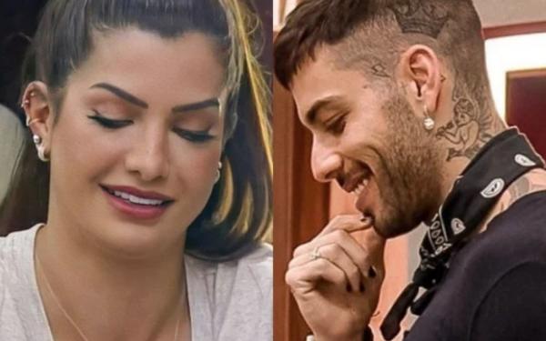Marina Ferrari e Gui Araujo se beijam e ficam de conchinha embaixo do edredom